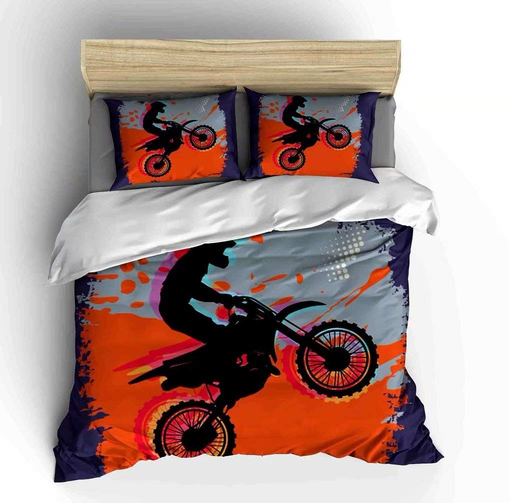 Vichonne Dirt Bike Bedding Sets Queen Size,3 Piece Motocross Racer Extreme Sports Theme Duvet Cover Sets with Pillowcases for Teens Boys Girls Bedroom Decorative,Orange,No Comforter