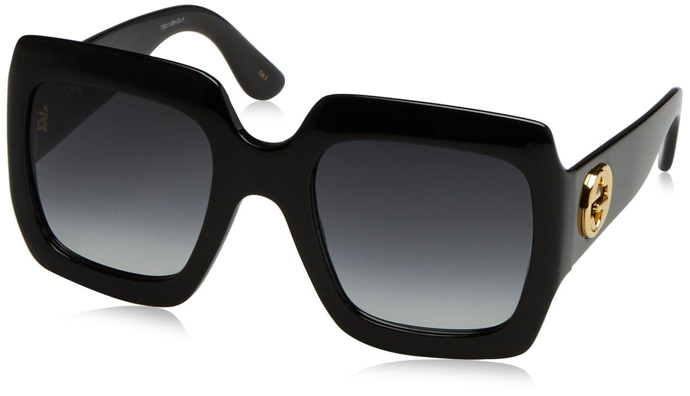 Gucci Womens 54MM Oversized Square Sunglasses, Black/Black/Grey, OS