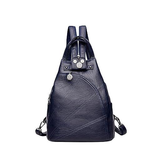 Xinwcang Mujer Mochila Cuero de la PU Impermeable Moda Bolso del Hombro Casual Bolsa de Mano Mochilas Tipo Bolsa de Viaje para Mujeres Azul Oscuro: ...