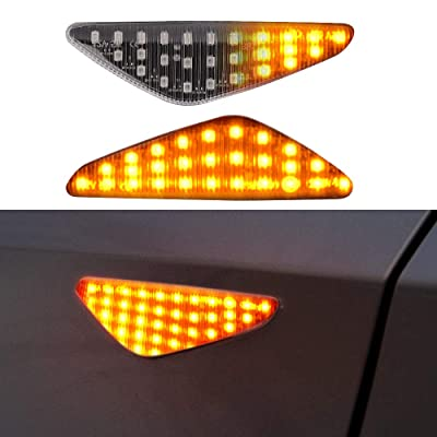 LED Side Marker Turn Signal Light for BMW E70 X5 E71 X6 F25 X3, Car Work Box Clear Lens Style Side Marker Lamps, Replace OEM Side Marker Light (2 Pack): Automotive