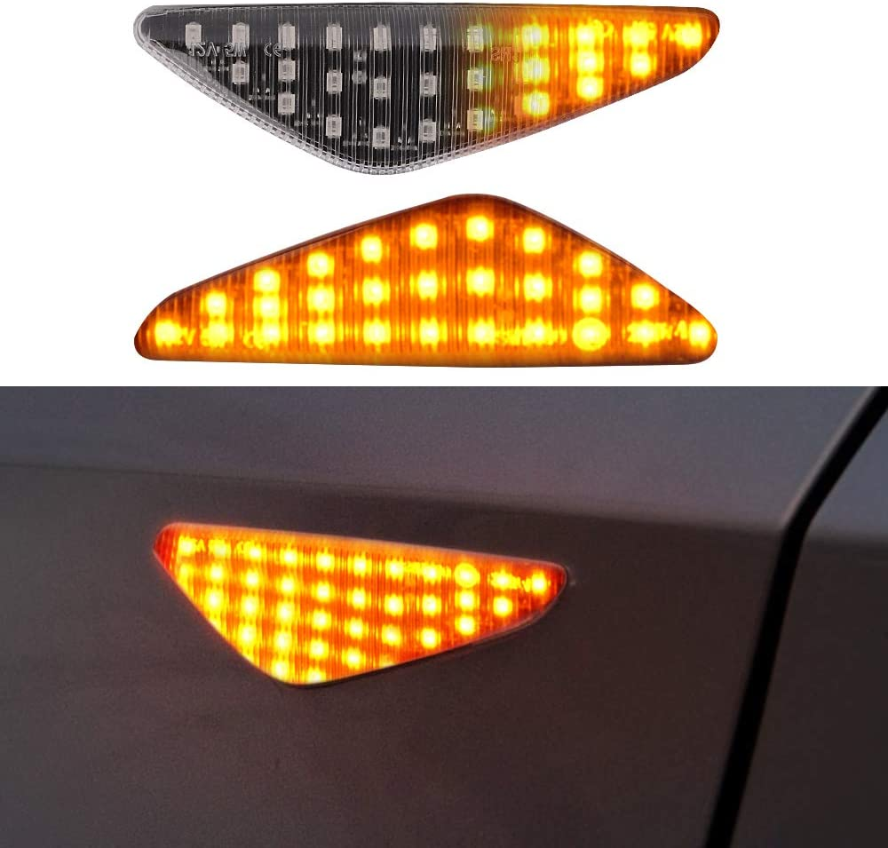 LED Side Marker Turn Signal Light for BMW E70 X5 E71 X6 F25 X3 Car Work Box Clear Lens Style Side Marker Lamps 2 Pack Replace OEM Side Marker Light