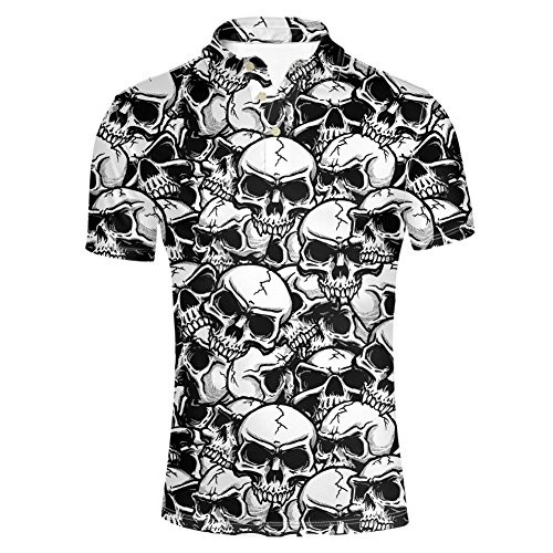 Edition Golf Shirt - HUGS IDEA Skull Skeleton Print Men's Golf Polos Shirt Summer Short Sleeves Fashion Hipster Hip Hop T-Shirts Tee Tops
