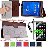 For Sony Xperia Z3 Compact Tablet 8-inch Good QUALITY PU LEATHER FOLIO PROTECTIVE SMART CASE, COVER, STAND with MICROFIBER INNER, STYLUS SLOT, Hand Strap and Credit Cards / ID Holders plus 2 Screen Protectors and Stylus! BROWN.