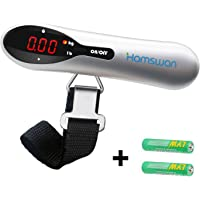 Luggage Scale, HAMSWAN Luggage Scales, Portable Digital Travel Suitcase Scales Weights with Tare Function for Travel Outdoor Home 110 lb/ 50KG Capacity (2 x AAA Batteries Included)