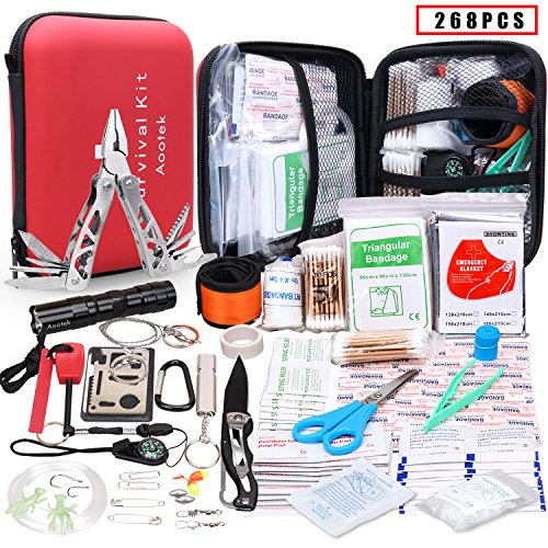 Emergency First Aid Kit - Aootek Upgraded first aid survival Kit.Emergency Kit earthquake survival kit Trauma Bag for Car Home Work Office Boat Camping Hiking Travel or Adventures