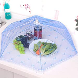 Polytree Mesh Food Covers Tent Umbrella Food Net Cover Keep out Flies Mosquitoes Ideal for Parties Picnics BBQ, Reusable and Collapsible, Random Color Random Color S