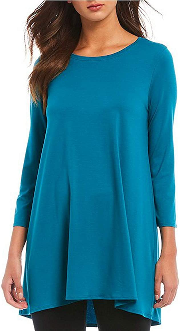 Eileen Fisher Jersey Crew Neck 3/4 Sleeve Tunic, Size-L