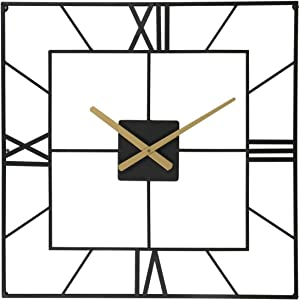25 Inch Large Square Black Metal Wall Clock Battery Operated for Living Room Entryway Bedroom Decor