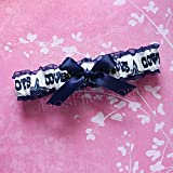 Customizable - Dallas Cowboys navy & white fabric handmade into bridal prom navy organza wedding garter with navy bow