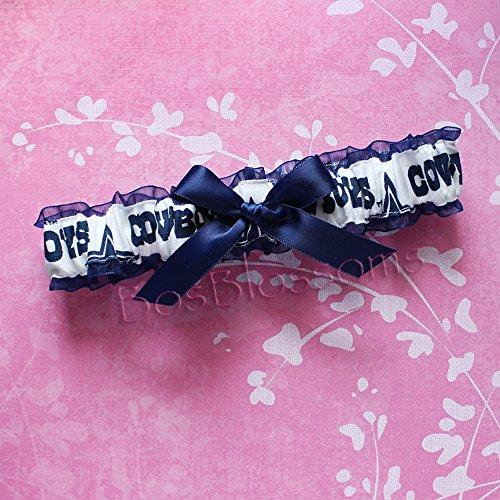Customizable - Dallas Cowboys navy & white fabric handmade into bridal prom navy organza wedding garter with navy bow