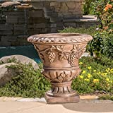 Roman 21-inch Light Brown Urn Planter by Christopher Knight Home