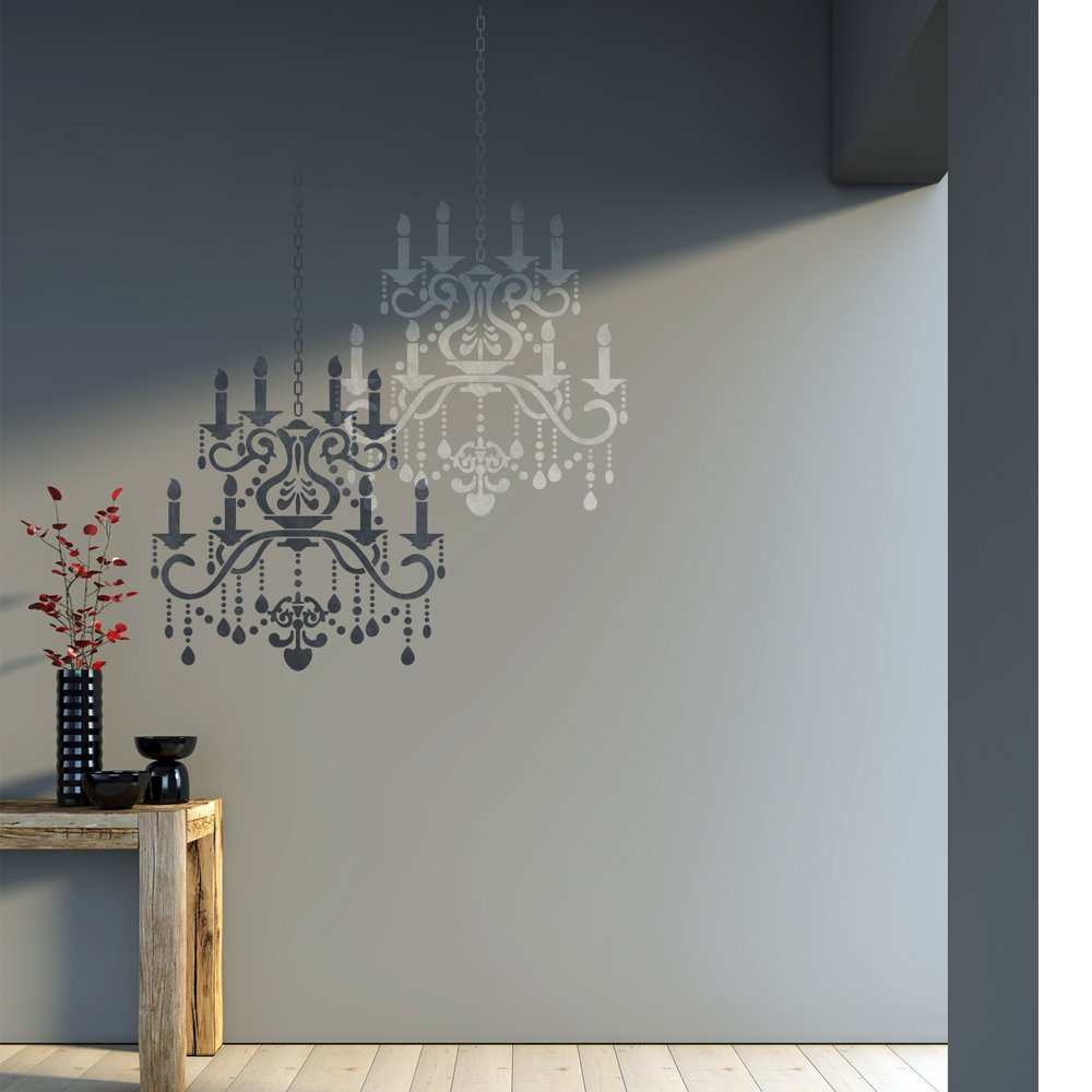 Amazon j boutique stencils wall stencil crystal chandelier amazon j boutique stencils wall stencil crystal chandelier template for diy decor better than decals arts crafts sewing arubaitofo Image collections