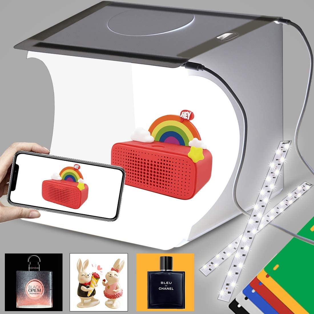 VicJoye Tabletop Photography Lightbox Light Tent Mini Photo Studio Box Tent with 2 LED Light and 6 Color Background for Small Size Products