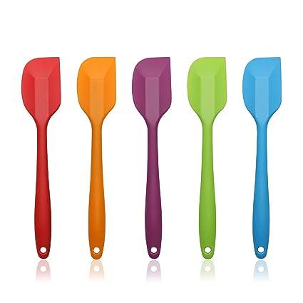 AEMIAO 5 piezas Juego de espátula de silicona utensilios de cocina  Espátulas de cocina,Diseño de una sola pieza,resistente al calor BPA Free  Cuchara ...