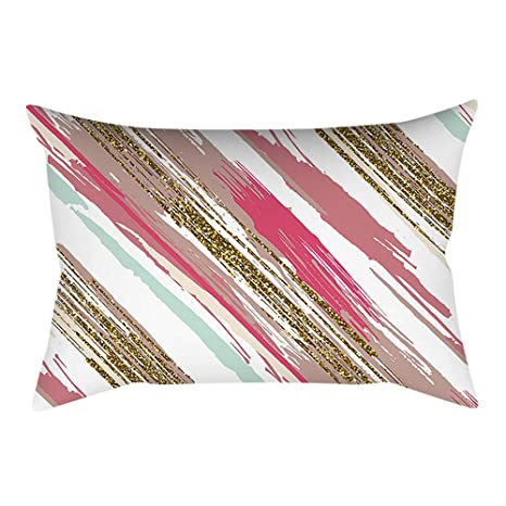 BHYDRY Rosa pequeña impresión fresca plaza funda de almohada decoración del hogar sofá de coche 30X50cm