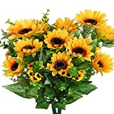 JUSTOYOU Artificial Silk Sunflowers Flower Bouquet with Stems for Home Wedding Festival Decor