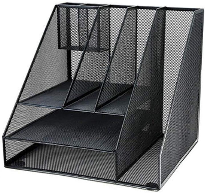 LQ Magazine Rack Metal Desktop Three Layers Design Multifunction High Capacity File Racks Breathable and Non-Slip Black 310 290 290mm Folder