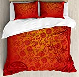 Eastern King Bed Sheets Sale 4 Piece King Size Duvet Cover Set,Asian Eastern Ethnic Scenery Branches Traditional Chinese Symbols,Bedding Set Luxury Bedspread(Flat Sheet Quilt and 2 Pillow Cases for Kids/Adults/Teens/Childrens