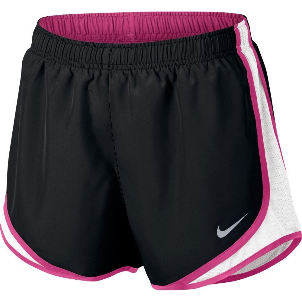 Nike Womens Dri-Fit Tempo Running Shorts Black/White/Vivid Pink 831558-020 Size X-Small
