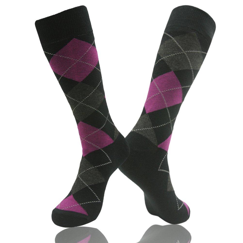 Long Tube Crew Socks, SUTTOS Men's Colorful Patterned Dress Socks Groom Wedding Socks Basics 2 Piece Dri-Fit Tech Cushion Comfort Pink Grey Black Argyle Nordic Plaid Dress Gift Socks School Uniforms