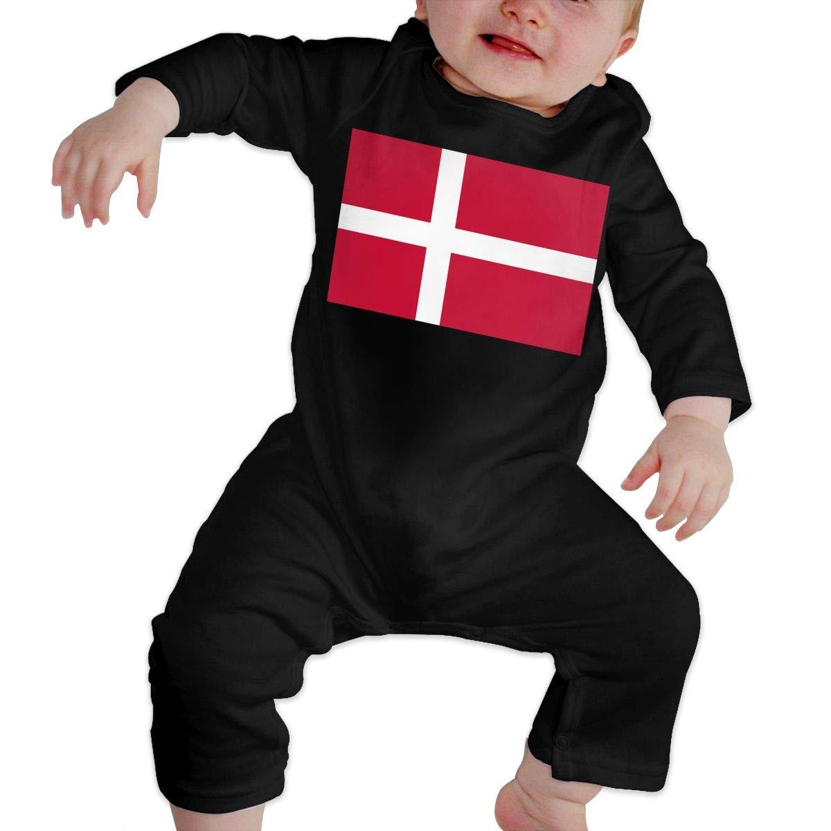 Fashion Denmark Flag Sleepwear U99oi-9 Long Sleeve Cotton Bodysuit for Baby Girls Boys