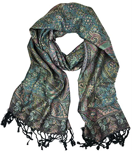(Plum Feathers Tapestry Ethnic Paisley Pattern Pashmina Scarf black teal metallic)