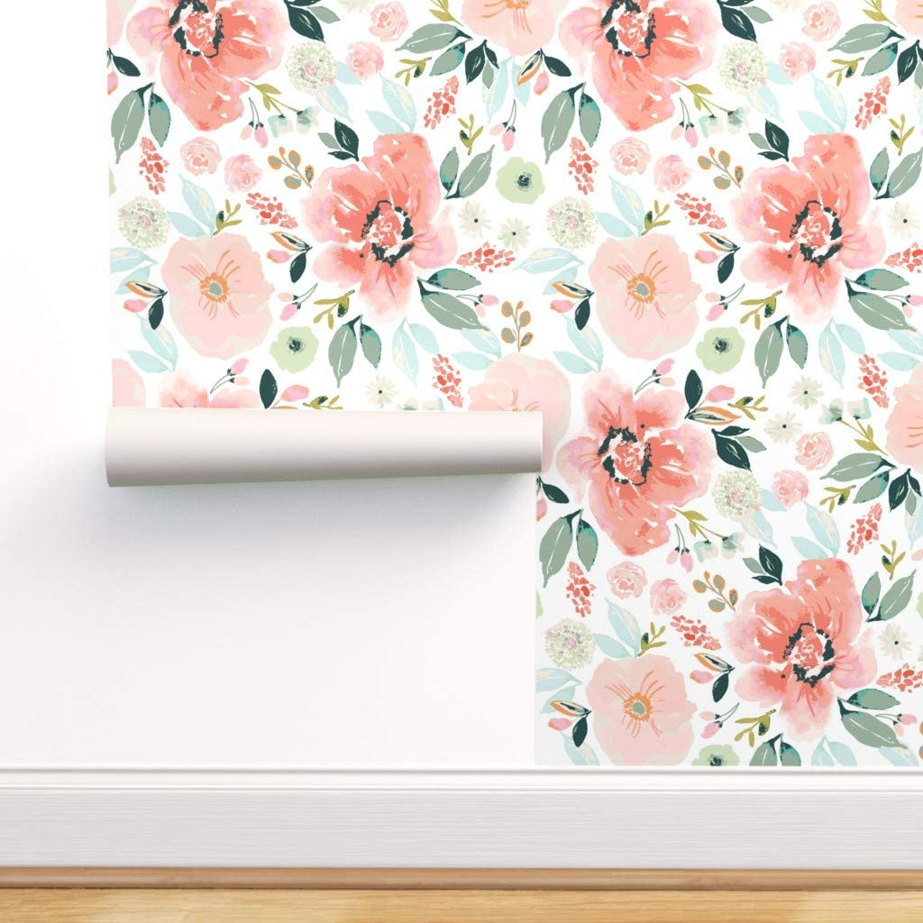Peel And Stick Removable Wallpaper Floral Watercolor Modern Chic