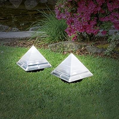 Luz solar exterior, rameng pirámide lámpara solar de suelo jardín proyector de jardín impermeable IP65: Amazon.es: Iluminación