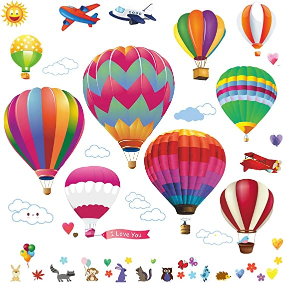 Wall Decals Large Hot Air Balloon Stickers Decorative Vinyl Peel And Stick Classroom Decorations Wall Art Mural For Children S Bedroom Baby Nursery And Playroom 49pcs Kitchen Dining Amazon Com