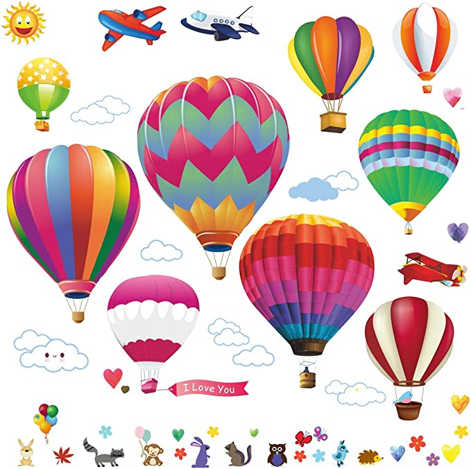 Hot Air Balloon Watercolor Wall Sticker Color Circle Wall Decal For Kids Room NP