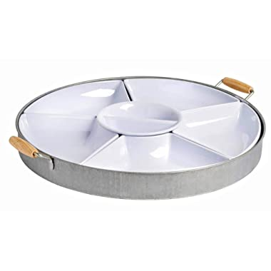 Galvanized Lazy Susan Chip & Dip
