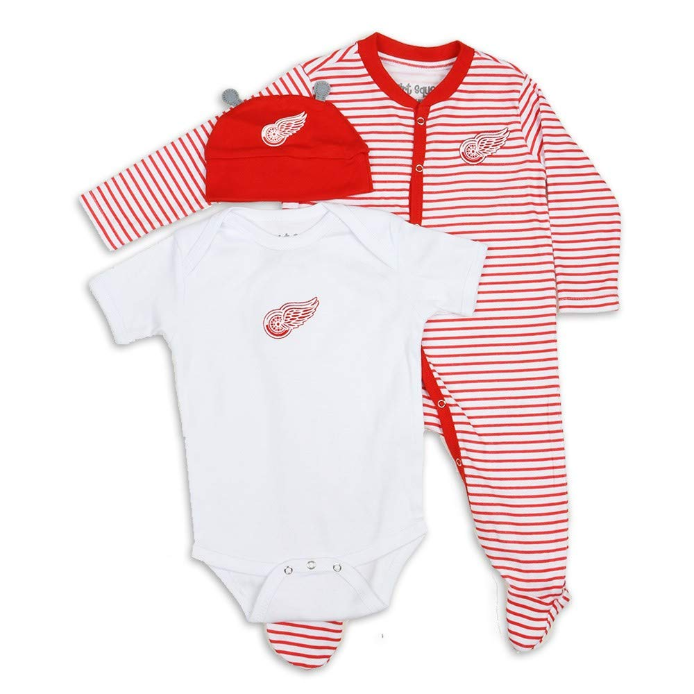 Detroit Red Wings Ring Around Creeper, Bodysuit, Hat Set - Infant 18 Months by Detroit Athletic Co
