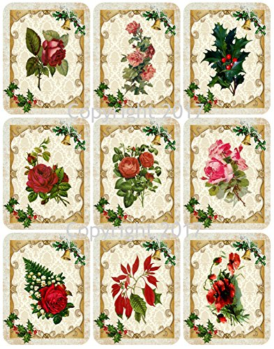 - Victorian Images Christmas Flowers Vintage Christmas Graphics Collage Sheet, Digital Scrapbooking, Prints, ATC, Gift Tags 8.5 x 11