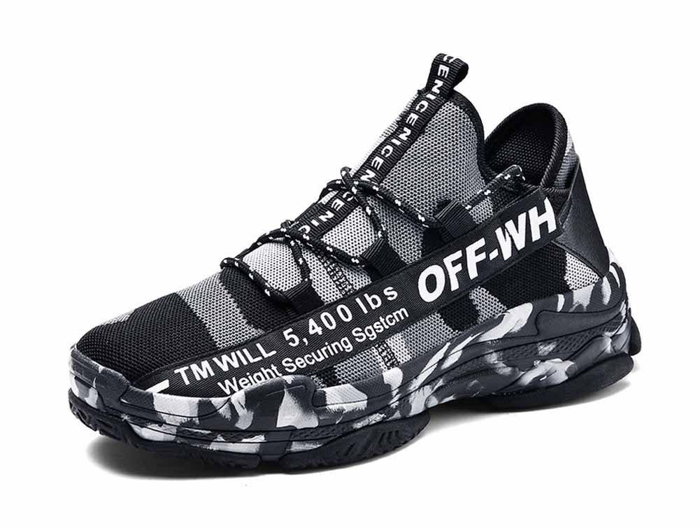 Hombres Zapatos Corrientes Respirables Hechos Punto 2018 Zapatos Ocasionales Cómodos Nuevos De La Manera De Gran Tamaño (Color : Gris, tamaño : 44) 44 Gris