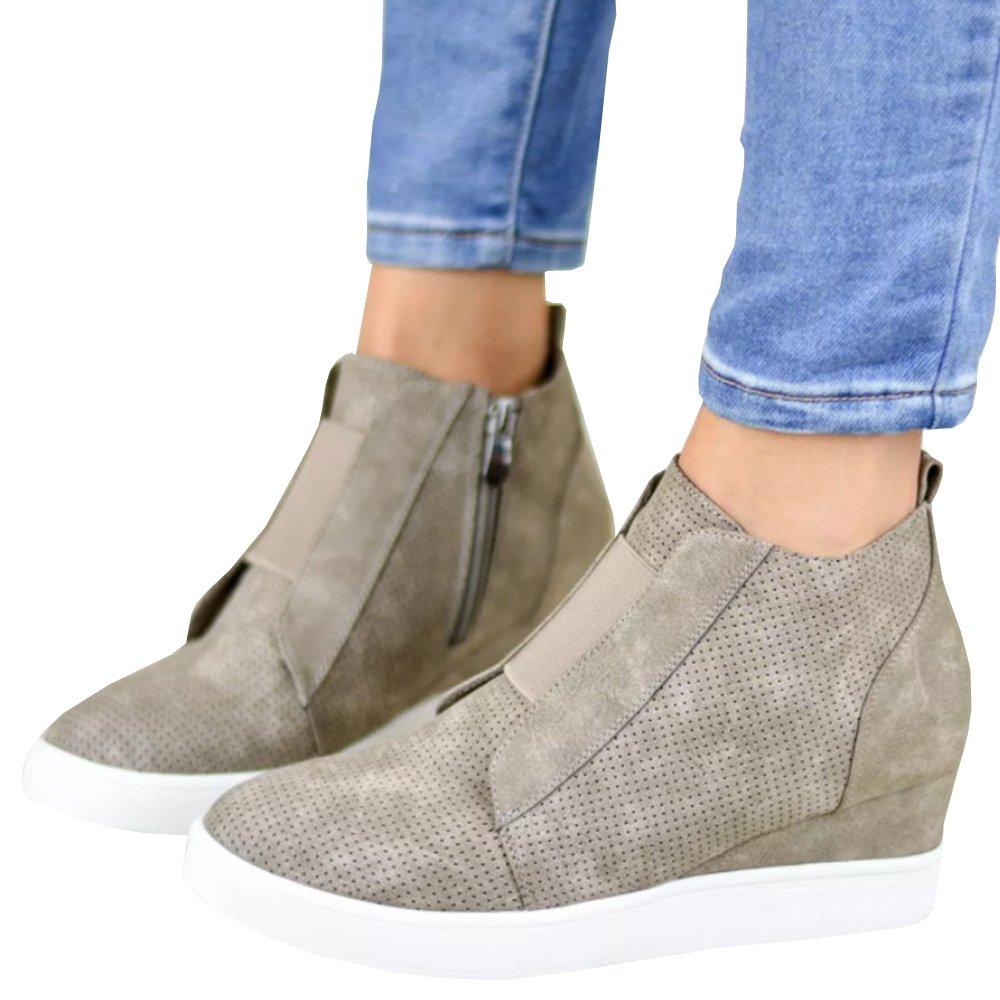 Womens Fashion Sneaker Wedges Strap High Top Platform Zipper Flats Closed Toe