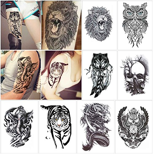 COKOHAPPY 8 Sheets Large Temporary Tattoo Half Arm Extra Sleeve Elephant, Dead Skull, Lion, Owl, Dragon, Tiger, Wolf for Guys Man Shoulder Chest (Diy Money Man Costume)