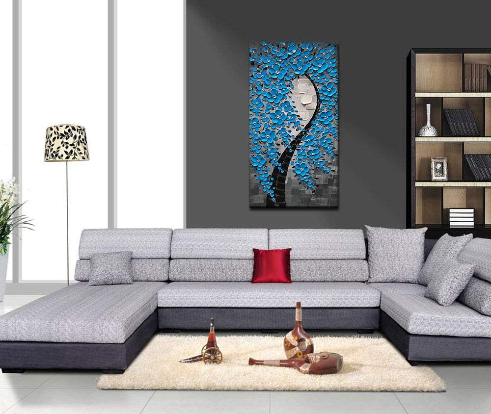 20X40 inch Azure Art 3D Oil Paintings on Canvas Wall Art Long Elegant Art White Flower Picture Square Artwork Abstract Paintings for Living Room Bedroom Dinning Room Framed Home Decor Canvas
