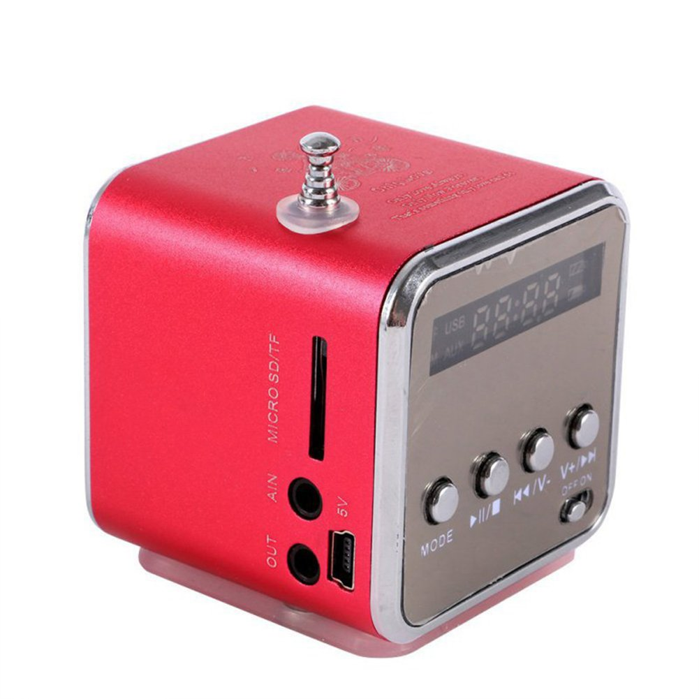 Auphi Digital Mini Portable Speaker Music MP3 Player Speaker FM Radio with TF Card and USB Port (red)