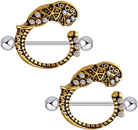 3 Pairs Vintage Stainless Steel Nipple Barbell Shield Ring Body Jewelry