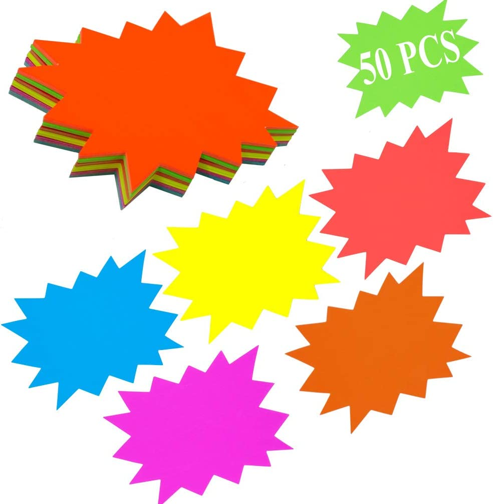 "Starburst Signs Fluorescent 4""x 6""Neon Paper Burst Signs Price Labels for Retail Store Party Favors Car Sale Office Arts and Crafts Display Tags to Boost Sales with Adhesive Dots"