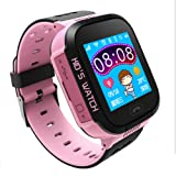 "Per Children Smart Watch 1.44"" HD Touch Screen Support Android IOS System With Flashlight &Camera Anti-Lost Watch For Kids Toddlers-Pink"