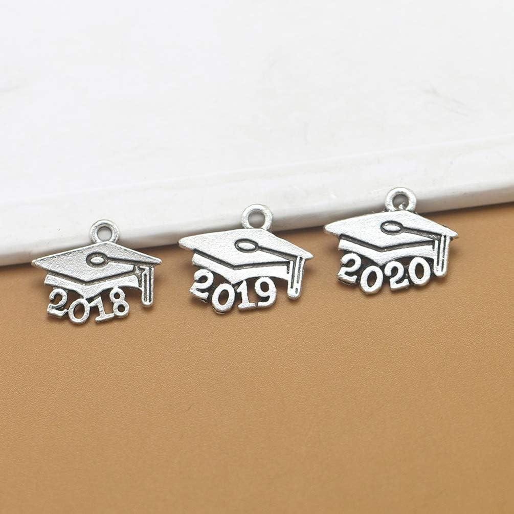 NUOBESTY 200 Pz 2020 Numero Ciondoli Charms Cappello di Laurea Ciondoli Charms Argento Antico Charms Gioielli Fai da Te Artigianato Accessori per Collana Braccialetto Orecchini Portachiavi