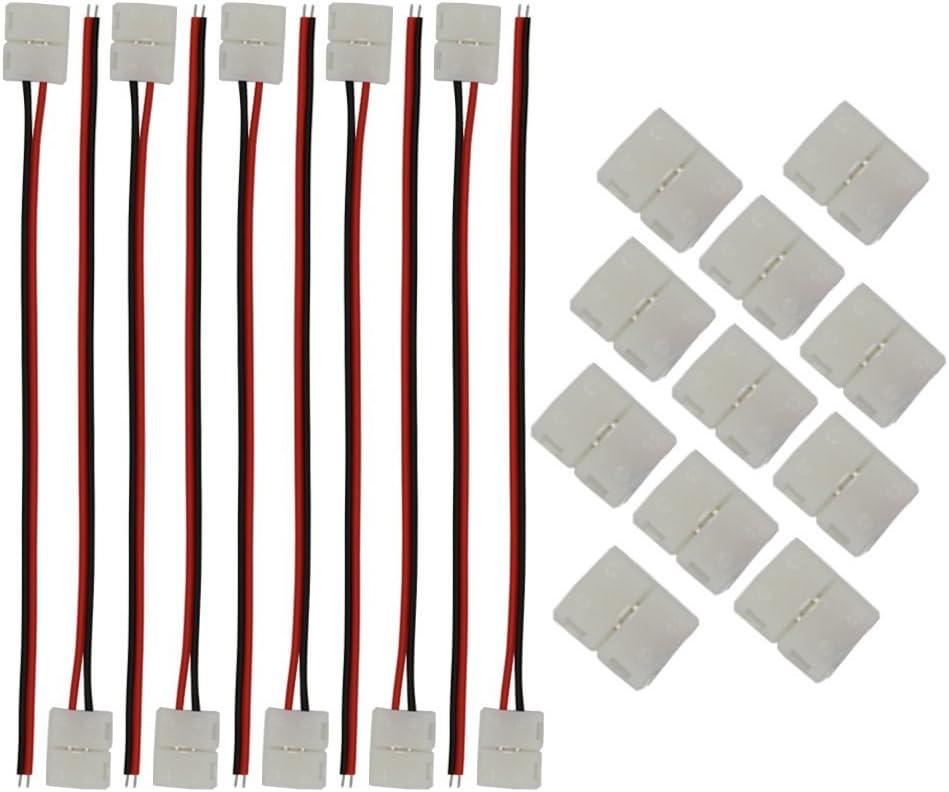 CESFONJER 20 PCS conectores tiras led, 10x Cable de conexión +10x conectores 2-pinpara 3528 Monocolor y Tira 8mm ancho.