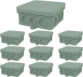 Caja de derivación, caja de derivación, caja de conexión, caja de conexión para entornos húmedos, IP54, 85 x 85 x 40 mm, 10 unidades: Amazon.es: Bricolaje y herramientas