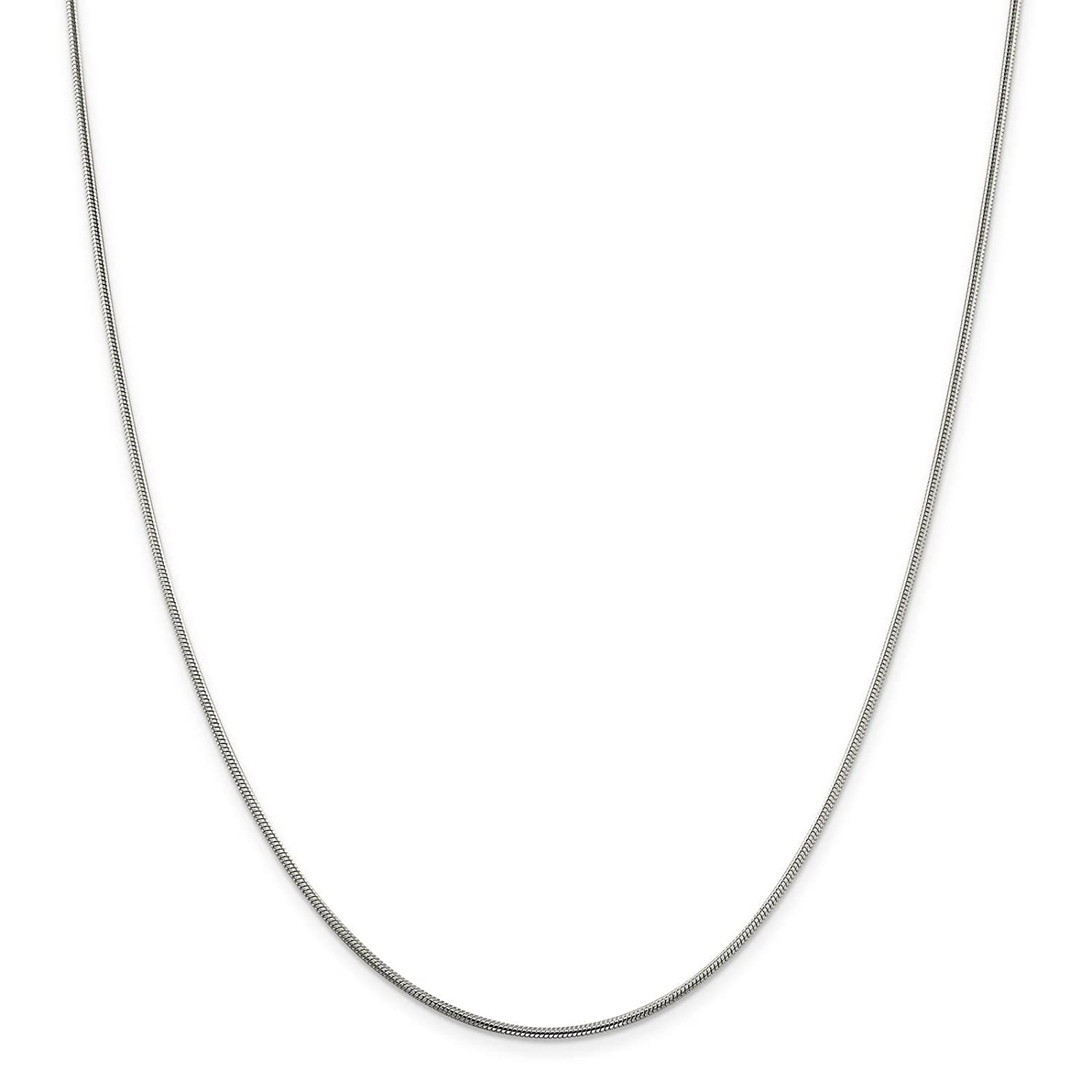 925 Sterling Silver 1.5mm Polished Round Snake Chain Necklace 7-30