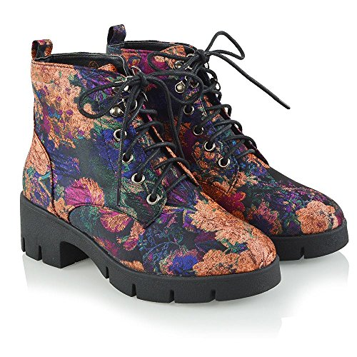 Essex Glam Chaussures Femmes Lacets Plate-forme Cheville Chunky Talon Chaussons Noir Floral