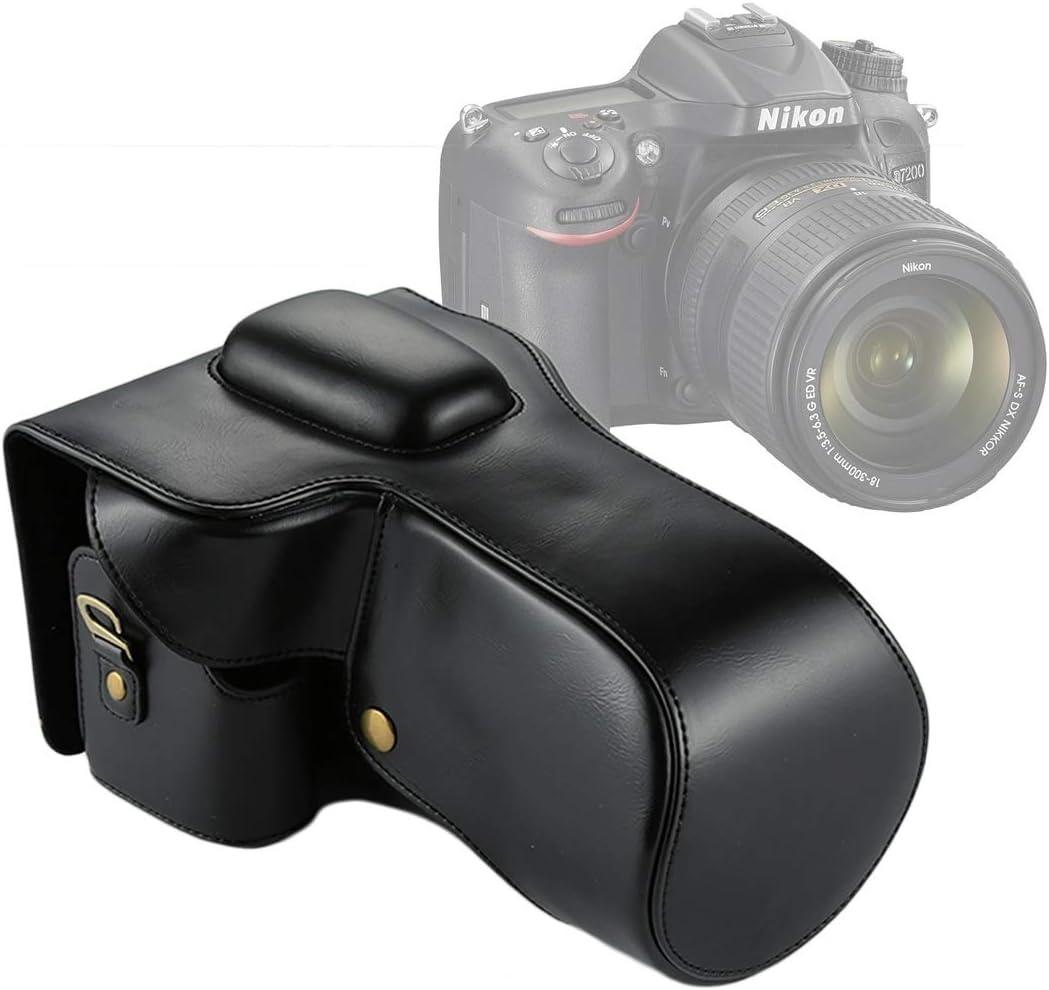 Color : Black 18-200//18-140mm Lens Durable Full Body Camera PU Leather Case Bag for Nikon D7200 // D7100 // D7000