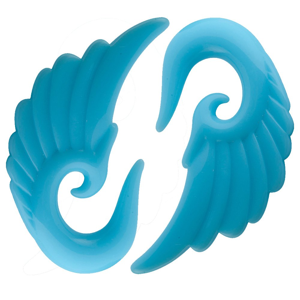 CloseoutWarehouse Acrylic Angel Wings Glow in the Dark Light Blue Earplugs Size 0G