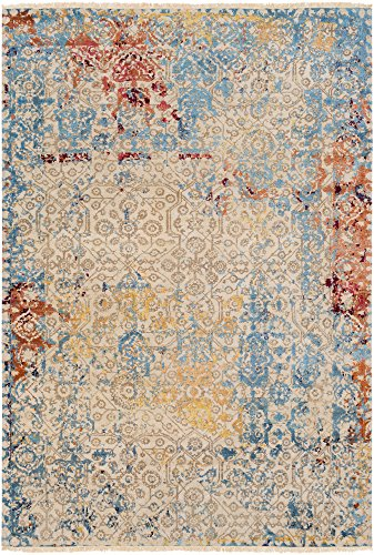 Masham Handmade Updated Vintage 8' x 10' Rectangle Updated Traditional 80% Wool/20% Silk Aqua/Navy/Peach/Rose/Burgundy/Mustard/Bright Yellow/Butter/Tan Area ()