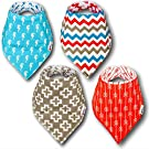 Bandana Baby Drool Bibs for Boys & Girls - Ultra Absorbent Reversible Bib Set with Adjustable Snaps - 100% Cotton - Fits Any Child, Newborn or Infant - Unisex Colors & Patterns - Great Shower Gift